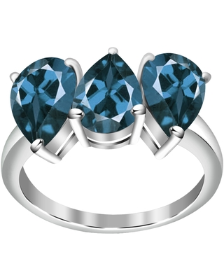 London Blue Topaz Sterling Silver Pear 3-Stone Ring by Orchid Jewelry (9)