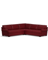 Townsend Roll Arm Leather 3-Piece L-Shaped Corner Sectional, Polyester Wrapped Cushions, Leather Signature Berry Red
