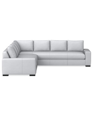 Swell Robertson Sectional Left 2 Piece L Shape Sofa Down Cushion Como Leather Grey Ncnpc Chair Design For Home Ncnpcorg