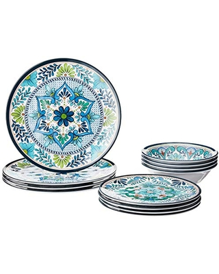 Certified International Talavera Melamine 12 pc Dinnerware Set, Service for 4, Multicolored