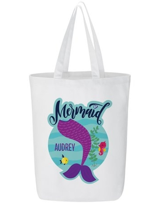 Personalized Just A Mermaid Tote Bag - Purple
