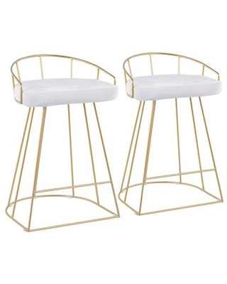 Canary Collection B26-CNRYAU+VW2 Set of 2 Counter Height Stool with Padded Upholstered Seat Luxe Contemporary Style Cage-Like Gold Tone Metal Base