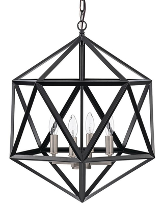 Edvivi 4-Light Matte Black Geometric Iron Cage Chandelier with Brushed Nickel Sleeves