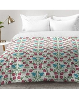 East Urban Home Love and Peace Floral Bird Pattern Comforter Set EAHU7309 Size: King