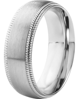 Men's Crucible Stainless Steel Brushed Finish with Milgrain Edge Ring (12), Silver