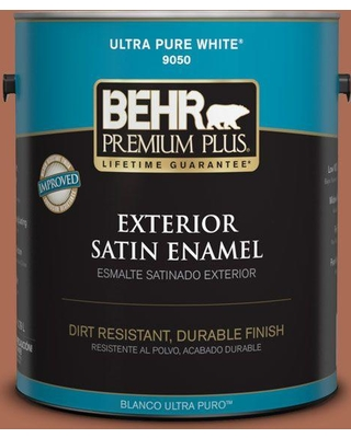 BEHR Premium Plus 1 gal. #BIC-45 Airbrushed Copper Satin Enamel Exterior Paint and Primer in One