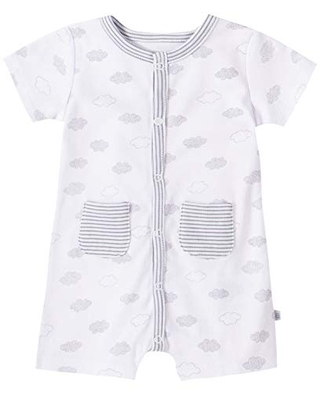 absorba Baby Boys' Short Sleeves Romper, White Cotton, 0-3 Months