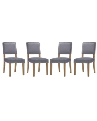 Oblige Collection EEI-3478-GRY Set of 4 Dining Chairs with Nailhead Trim Non-Marking Foot Caps Solid Natural Wood Legs and Velvet Polyester Fabric