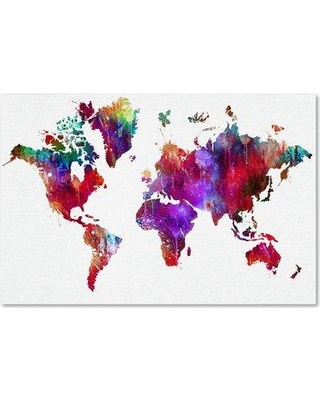 """Trademark Art 'World Map 3' Graphic Art Print on Wrapped Canvas ALI15502-C Size: 12"""" H x 19"""" W"""