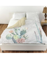 Oliver Gal Marble and Succulents Duvet Cover 22221.DUVET__MF Size: King