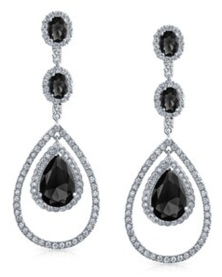 Pave CZ Halo Fashion Big Teardrop Statement Dangle Earrings For Women For Prom Pageant Silver Plated Brass More Colors (Black)