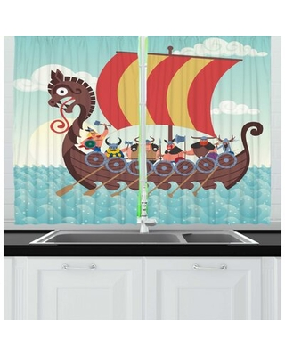 2 Piece Vikings Whimsical Cartoon Illustration of Dragon Ship and Funny Characters Kitchen Curtain Set East Urban Home