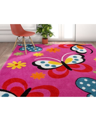"Well Woven Modern Butterfly Pink Area Rug - 3'3"" x 5' (Pink)"