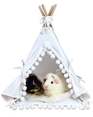 Guinea pig teepee with attached pompom pad, guinea big bed, rat, chinchilla bed, small pet teepee, pet bed, pet tipi, teepee, tepee