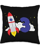 Cool kids birthday & theme party costume designs 3 years birthday party rocket space t Throw Pillow, 16x16, Multicolor