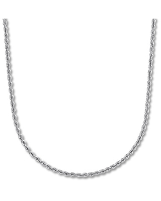 "Rope Chain Necklace 14K White Gold 22"" Length"