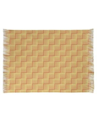 East Urban Home Basketweave Stripes Yellow/Red Area Rug W000614329 Non-Skid Pad Included: No