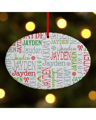 Personalized Holly Jolly Name Oval Christmas Ornament
