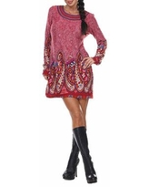 White Mark Sandrine Embroidered Sweater Dress, Medium , Red