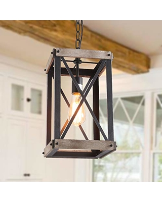 Lnc Cage Pendant Lights Wood Bond Chandelier For Island Living Room Non Flat Ceiling Licable A03437 Brown From Bhg