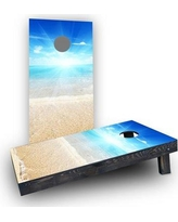 Custom Cornhole Boards Sunny Day at the Beach Cornhole Boards CCB296-C Bag Fill: Light Weight Boards with Corn Filled Bags