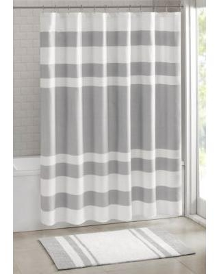 Madison Park Grey Spa Waffle Shower Curtain with 3M Treatment
