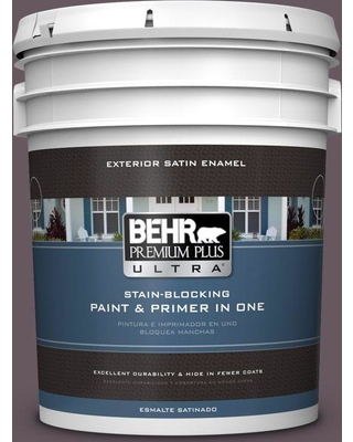 BEHR ULTRA 5 gal. #N100-6 Urban Legend Satin Enamel Exterior Paint and Primer in One