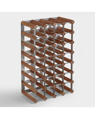 Wood and Metal 28 Bottle Industrial Wine Rack by World Market