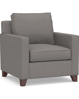 Cameron Square Arm Upholstered Armchair, Polyester Wrapped Cushions, Performance Chateau Basketweave Blue