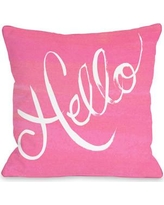 One Bella Casa Hello Painted Stripes Throw Pillow 73063PL18 / 73064PL18 Color: Pink / White