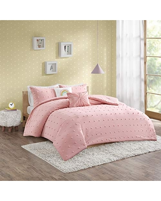 Urban Habitat Kids Callie Cotton Jacquard Pom Comforter Set, Full/Queen, Pink