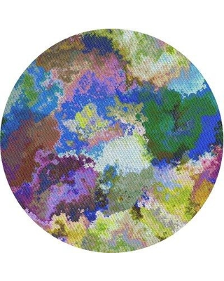 East Urban Home Patterned Blue/Yellow/Green Area Rug X112076020 Rug Size: Round 5'