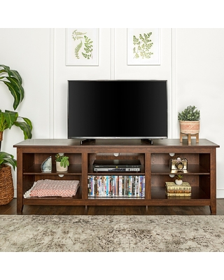 "70"" Wood Media TV Stand Storage Console - Traditional Brown - Saracina Home"
