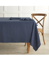 """Italian Washed Linen Tablecloth, 70 X 108"""", Navy Blue"""