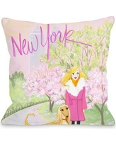 """One Bella Casa Love from NYC 25 New York Girl Dog Throw Pillow 73215PL18 Size: 18"""" x 18"""""""