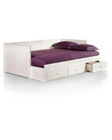 Furniture of America Daja Cottage Full Solid Wood Storage Daybed (White)
