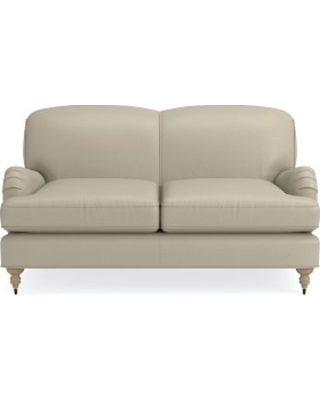 """Bedford 61"""" Loveseat, Down Cushion, Italian Distressed Leather, Ivory, Natural Leg"""