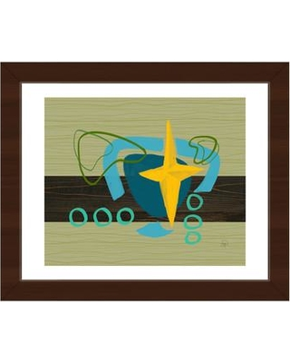 "Click Wall Art Stars and Shapes Framed Painting Print on Canvas RET0000949FRA Frame Color: Espresso Size: 13.5"" H x 16.5"" W x 1"" D"