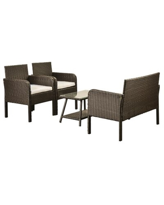 42.7'' Wide Outdoor Wicker Patio Sofa with Cushions