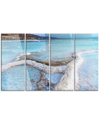 """Design Art 'Beautiful Coast of the Dead Sea' 4 Piece Photographic Print on Wrapped Canvas Set, Canvas & Fabric in Brown/Blue, Size Medium 25""""-32"""""""