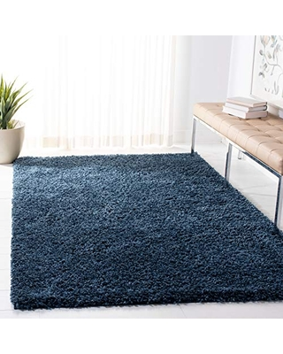 "Safavieh August Shag Collection AUG200M-5 Solid 1.5-inch Thick Area Rug 5'3"" x 7'6"" Navy"
