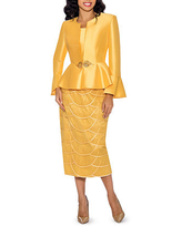 Giovanna Collection Women's Silk Wool and Tiered Lace 3-piece Skirt Suit, 16w , Yellow