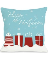 "One Bella Casa Happy Holidays Presents Throw Pillow 70573PL Size: 26"" H x 26"" W"