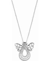 """Sentimental Expressions Sterling Silver Cubic Zirconia Angel of Comfort Necklace, Women's, Size: 18"""", White"""