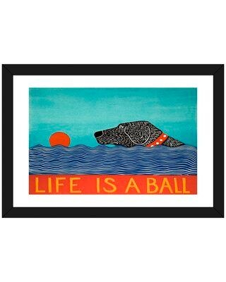 """East Urban Home 'Life Is a Ball Black' by Stephen Huneck - Graphic Art Print FCOM5339 Size: 16"""" H x 24"""" W x 1"""" D Format: Black Framed Paper"""