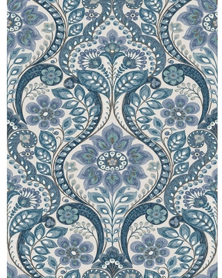 MANHATTAN COMFORT INC Guadalupe, Blue Night Bloom Damask Paper Strippable Wallpaper Roll (Covers 56.4 sq. ft.)