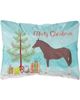 The Holiday Aisle Ohlone English Thoroughbred Horse Christmas Fabric Indoor/Outdoor Throw Pillow BI148769