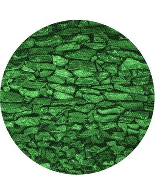 East Urban Home Patterned 3857 Green Area Rug X113673727 Rug Size: Round 3'