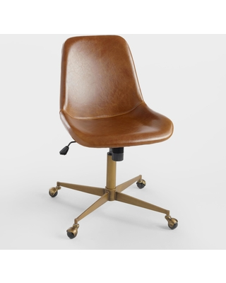 Amazing Sales On Bi Cast Leather Molded Tyler Home Office Chair Brown Cognac By World Market