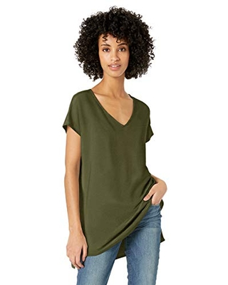 Amazon Brand - Daily Ritual Women's Supersoft Terry Oversized Dolman-Sleeve V-Neck Tunic, Olive, X-Small